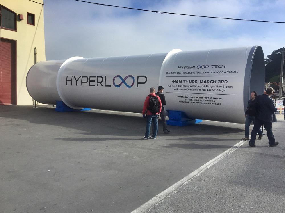 A piece of tubing produced by Hyperloop One. (Kevin Krejci/Flickr)