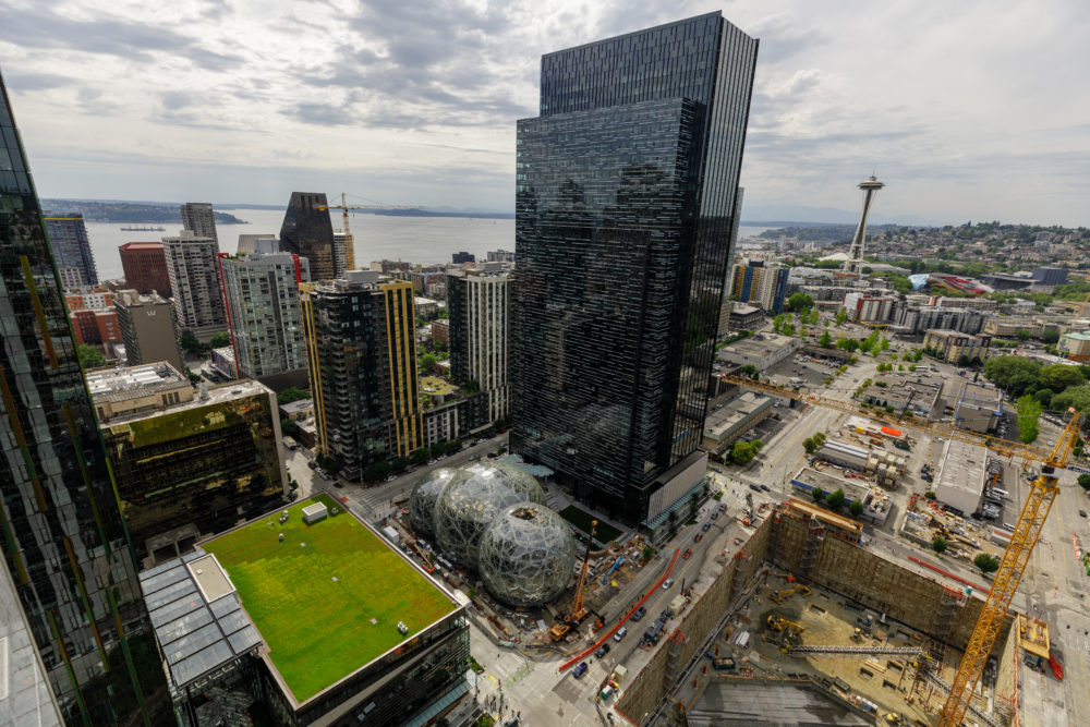 Amazon's campus in Seattle in both the downtown and South Lake Union neighborhoods. Photographed from the roof of Amazon's Port 99 building. (Jordan Stead/Amazon)