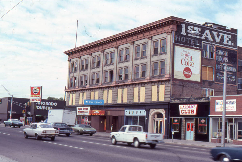 The First Avenue Hotel in August 1987.  (History Colorado. Office of Archaeology and Historic Preservation//Denver Public Library/Western History & Genealogy Dept./5DV53OAHP)
