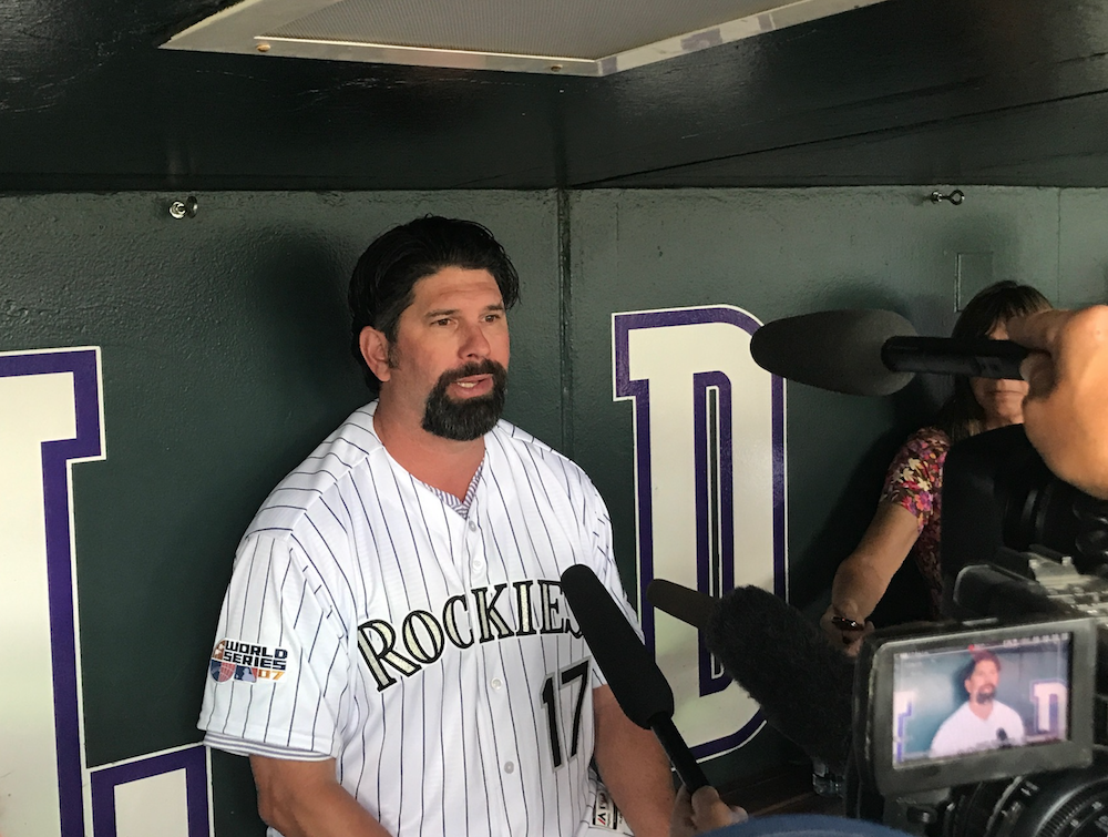 Todd Helton and his G.O.A.T. goatee returned to Coors Field on Friday. (Christian Clark/Denverite)