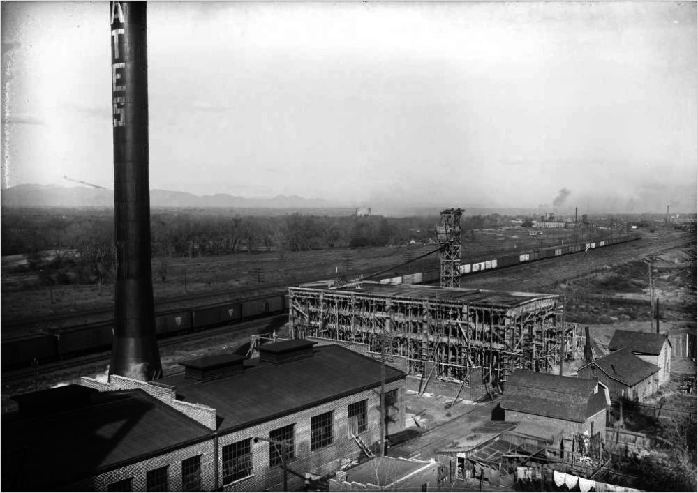 A view of construction at Gates Rubber Co, in Denver, sometime between 1911 and 1930. (Harry Mellon Rhoads/Denver Public Library/Rh-918)