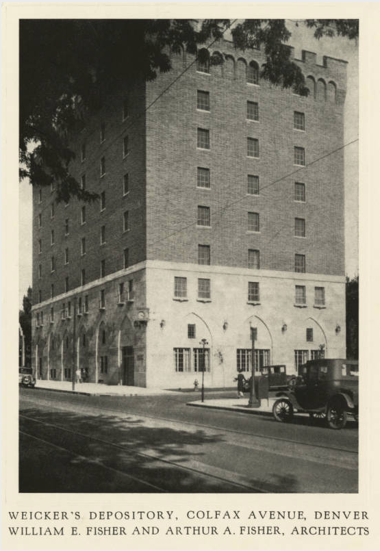 View of the Weicker storage facility located at 2100 Colfax Ave. circa 1926. The architectural firm of William E. Fisher and Arthur A. Fisher. (Denver Public Library/DPL-59)