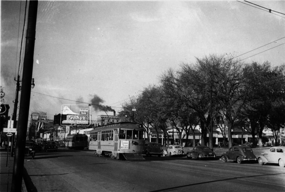 Denver Tramway streetcar no. 330 as it travels south on North Broadway near Colfax Avenue in the Civic Center neighborhood circa 1940-1950. (Charles Alibi/Denver Public Library/Western History Collection/Z-15630)