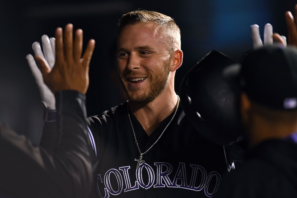 Trevor Story homered as the Rockies beat the Giants 9-6 on Tuesday. (Ron Chenoy/USA Today Sports)