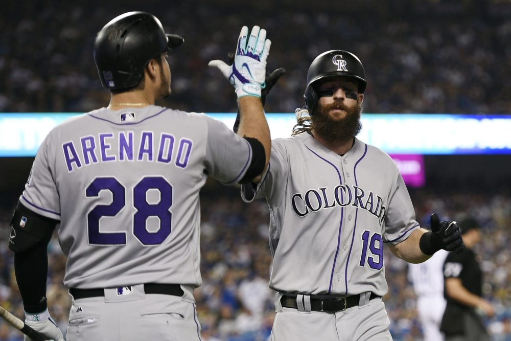 Colorado Rockies center fielder Charlie Blackmon (19) celebrates with third baseman Nolan Arenado (28) after running in a score off an RBI double by second baseman DJ LeMahieu (not pictured) during the fifth inning against the Los Angeles Dodgers at Dodger Stadium. Sep 8, 2017; Los Angeles, CA. (Kelvin Kuo/USA TODAY Sports)