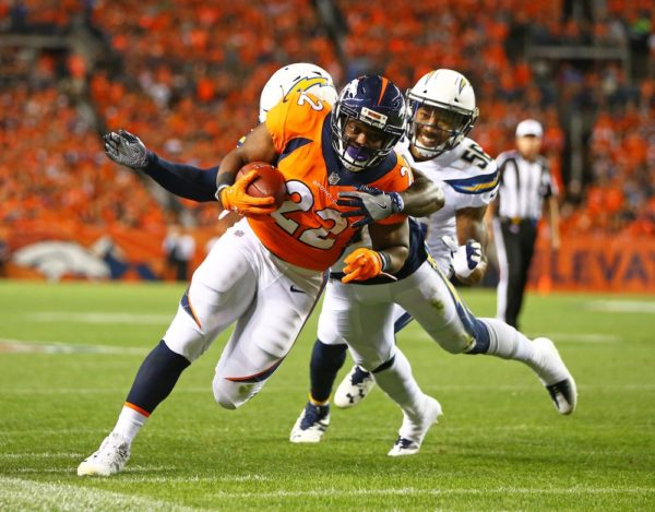 C.J. Anderson rushed for 81 yards in Denver' win Monday. (Mark J. Rebilas/USA Today Sports)