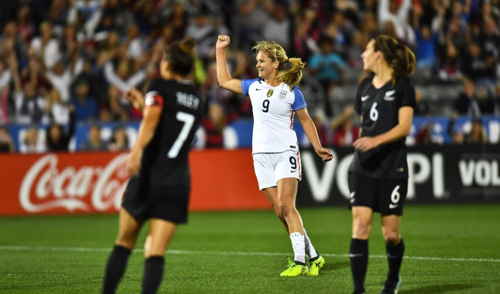 United States midfielder Lindsey Horan (9) celebrates her assist on a goal in the first half of the match New Zealand at Dick's Sporting Goods Park. Sep 15, 2017; Commerce City, CO. (Ron Chenoy-USA TODAY Sports)