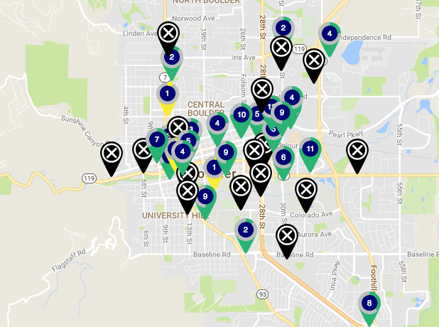 An outage map from Boulder B-cycle. (Boulder B-cycle)