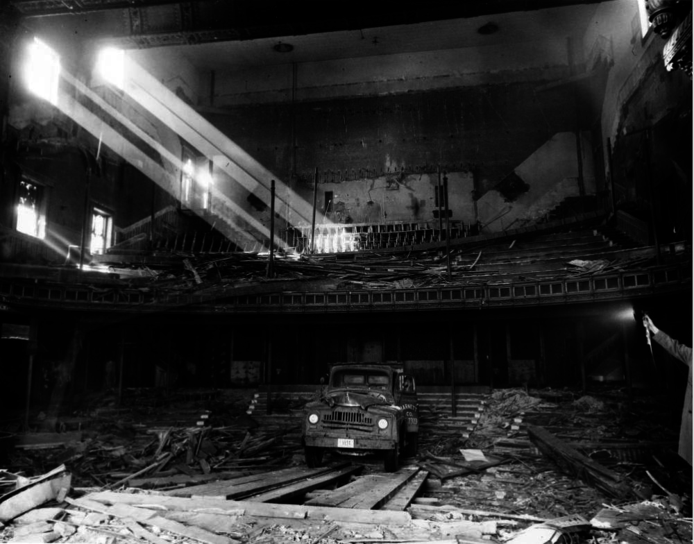 Demolition of the old Broadway theatre at 1756 Broadway on Feb. 21, 1955. (David Mathias/Western History & Genealogy Dept./Denver Public Library/X-24817)
