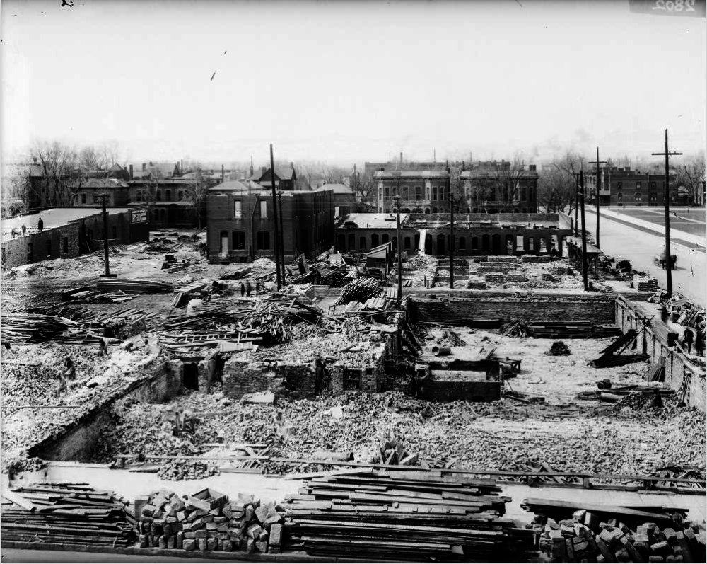 Demolition work on the Civic Center site circa 1917. (George L. Beam/Western History & Genealogy Dept./Denver Public Library/GB-7491)