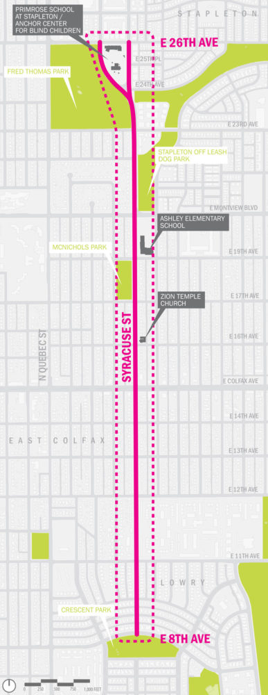 An outline of the area where new bike lanes are proposed on Syracuse Street. (City of Denver)