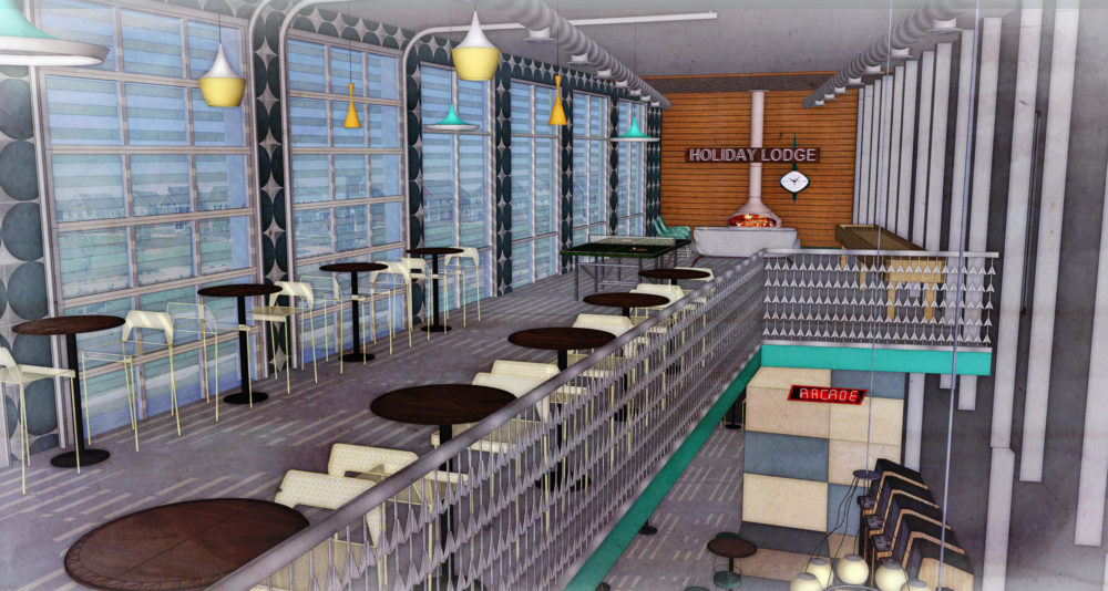 A rendering of Holly Lodge inside Punch Bowl Social Stapleton. (OZ Architecture.)