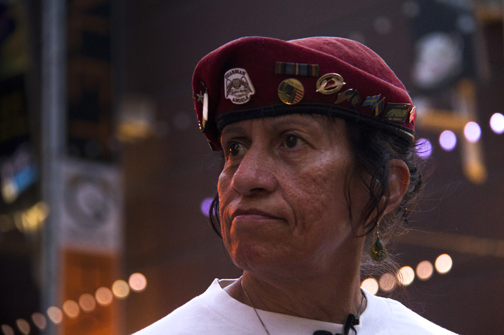 "Sally ""Apache"" Martinez on patrol with the Colorado Guardian Angels, for whom she spent 14 years as a live-in volunteer, July 11, 2015. (Kevin J. Beaty)  denver; colorado; colfax; denverite; kevinjbeaty; guardian angels"