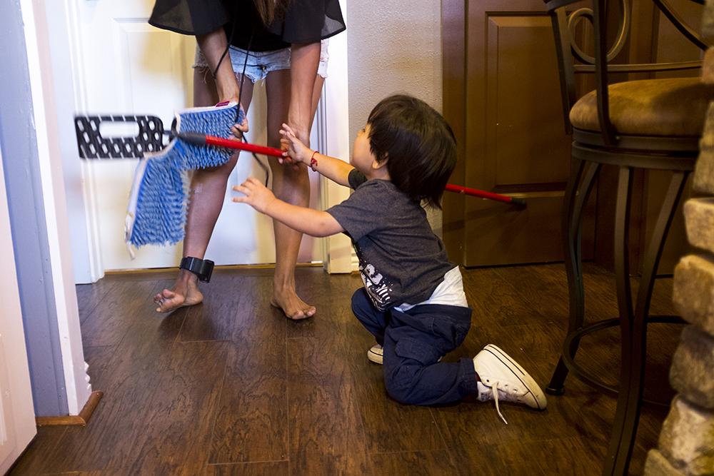 Ingrid Encalada at home with her son Anibal, Sept. 12, 2017. (Kevin J. Beaty/Denverite)  ingrid encalada latorre; immigration; deportation; denver; denverite; colorado; undocumented; kevinjbeaty