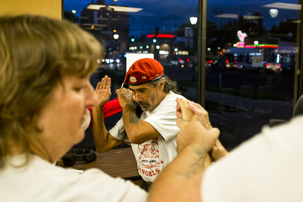 "Tom ""Kukulkan"" Garcia participates in self-defense training at the Colorado Guardian Angels headquarters before a Saturday evening patrol. Sept. 16, 2017. (Kevin J. Beaty/Denverite)  denver; colorado; guardian angels; capitol hill; denverite; colfax; kevinjbeaty;"