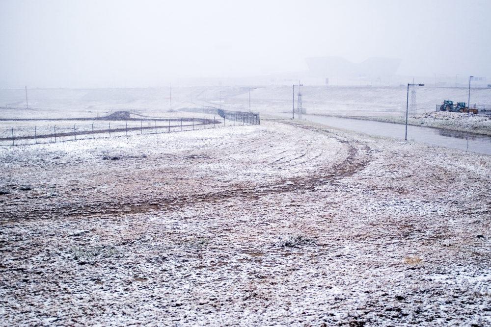 DIA on a snowy day, Oct. 9, 2017. (Kevin J. Beaty/Denverite)  snow; weather; cowx; denver; denverite; winter; kevinjbeaty; train; rtd; a line; colorado; dia; denver international airport;