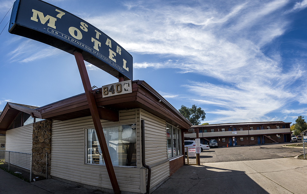 The 7 Star Motel on East Colfax Avenue. (Kevin J. Beaty/Denverite)  colorado; denver; kevinjbeaty; denverite; colfax; motel;