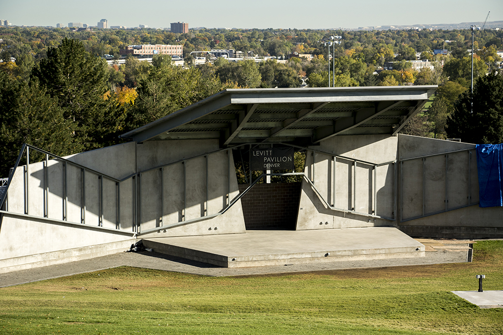 Levitt Pavilion at the bottom of Ruby Hill. (Kevin J. Beaty/Denverite)  colorado; denver; kevinjbeaty; denverite; levitt pavilion; ruby hill; music; entertainment; stage;