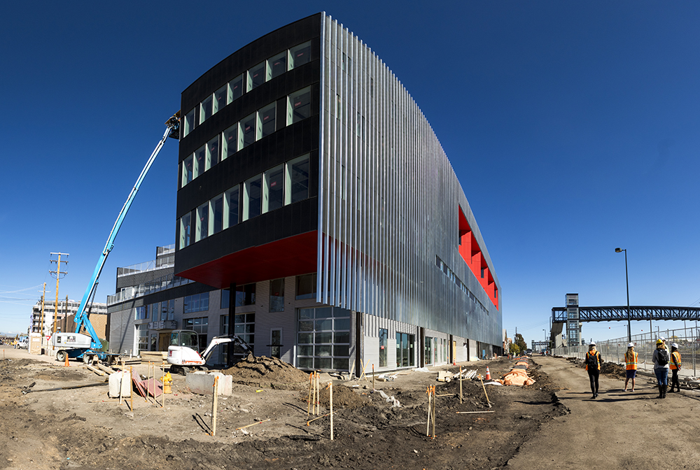 Zeppelin Station, under construction, Oct. 17, 2017. (Kevin J. Beaty/Denverite)   denver; colorado; denverite; kevinjbeaty; development; construction; rino; five points; zeppelin station;
