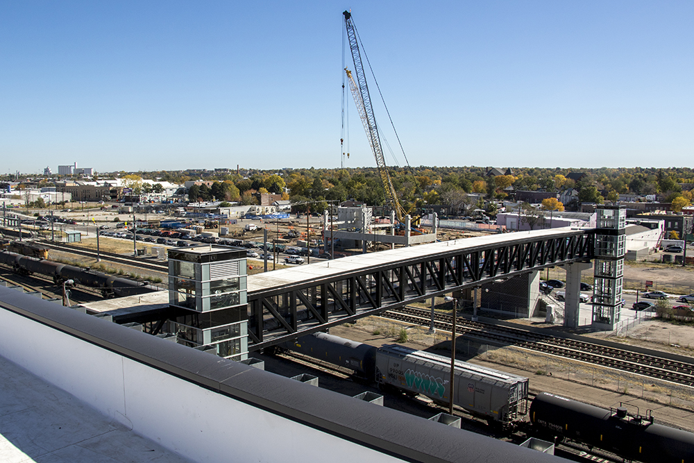 The view east from Zeppelin Station, which is still under construction, Oct. 17, 2017. (Kevin J. Beaty/Denverite)   denver; colorado; denverite; kevinjbeaty; development; construction; rino; five points; zeppelin station;