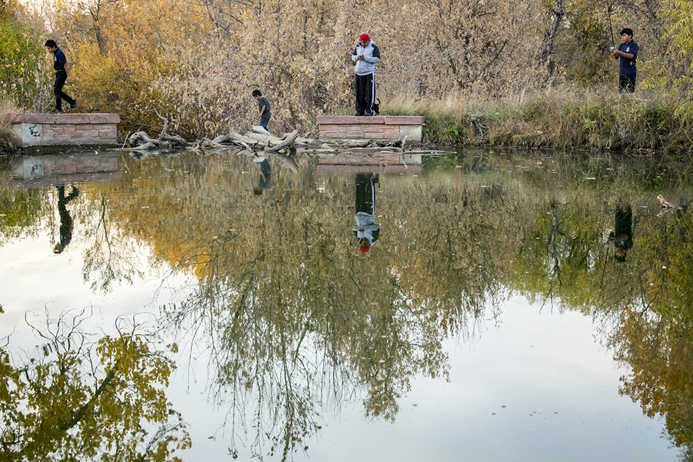 Ramiro Analco and his kids play around a pond in Bear Creek Park just before dusk, Oct. 19, 2017. (Kevin J. Beaty/Denverite)  bear creek park; fort logan; denver; denverite; colorado; kevinjbeaty;