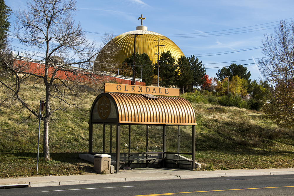 A glorious bus shelter on Leetsdale Drive in Glendale, Oct. 19, 2017. (Kevin J. Beaty/Denverite)  denver; colorado; denverite; kevinjbeaty; bus shelter; glendale; transportation; rtd bus;