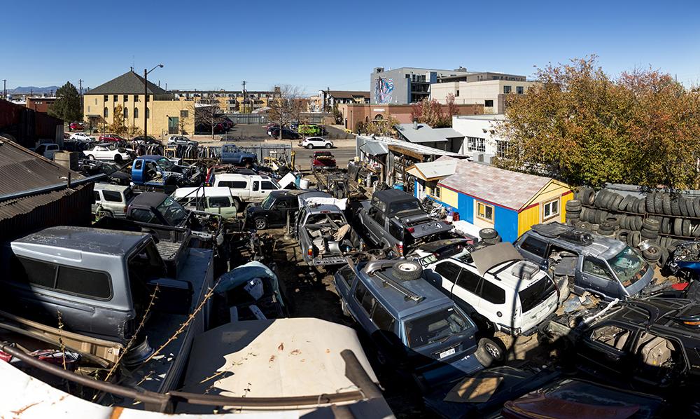 Yota Yard on Walnut Street, Five Points, Oct. 25, 2017. (Kevin J. Beaty/Denverite)  denver; colorado; denverite; rino; five points; development; kevinjbeaty; scrapyard;