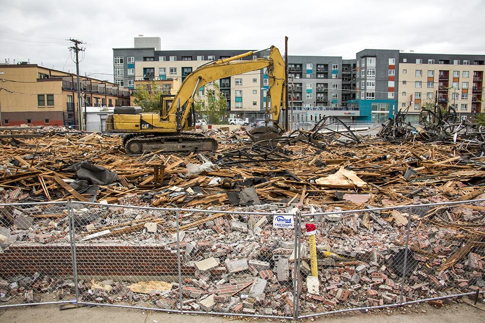 A pile of rubble at 21st and Arapahoe Streets, Oct. 26, 2017. (Kevin J. Beaty/Denverite)  denver; denverite; colorado; kevinjbeaty; construction; demolition; downtown; five points; ballpark;