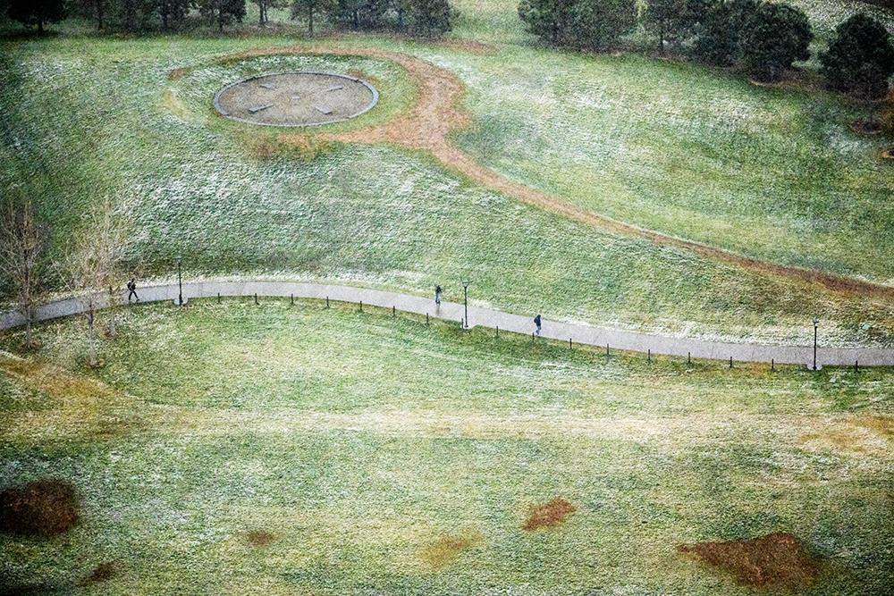 Commons Park on a snowy day, seen from The Confluence Denver, Oct. 26, 2017. (Kevin J. Beaty/Denverite)  denver; colorado; denverite; kevinjbeaty; skyline; cityscape; commons park; snow; cowx; weather;