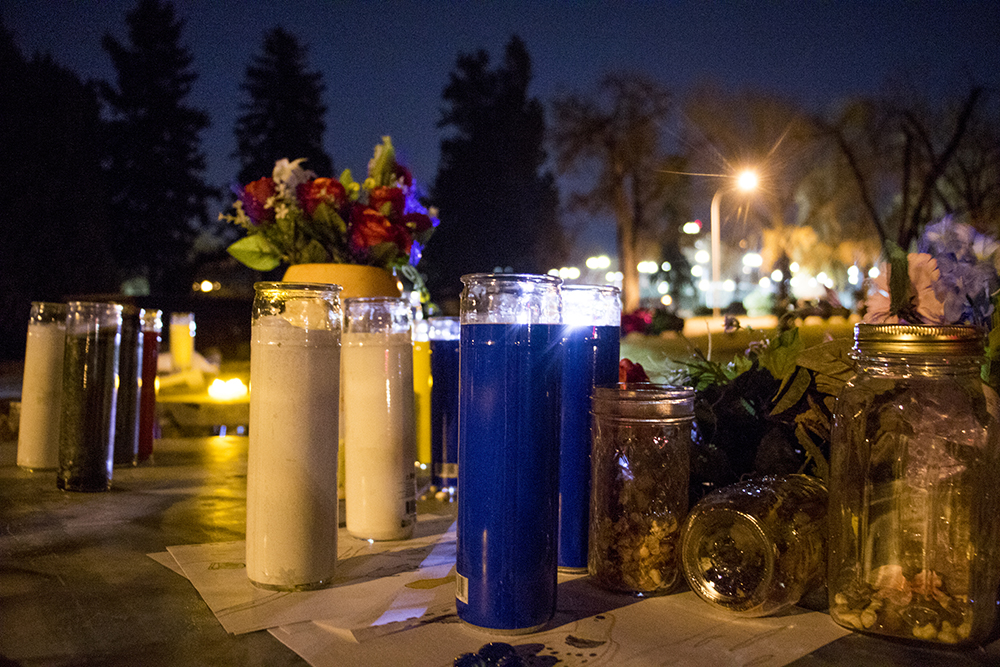 Available candles for a vigil for doomed trees at City Park Golf Course, Oct. 29, 2017. (Kevin J. Beaty/Denverite)  city park golf course; protest; trees; denver; denverite; colorado; kevinjbeaty; skyland;