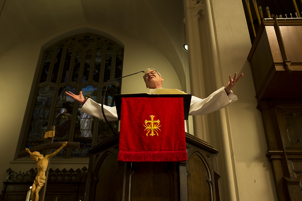Lutheran Bishop Jim Gonia preaches from the pulpit. St. Paul Lutheran Church celebrates 500 years since Martin Luther set the Reformation in motion, Oct. 29, 2017. (Kevin J. Beaty/Denverite)  st paul lutheran church; religion; worship; kevinjbeaty; denver; denverite; colorado; north capitol hill;