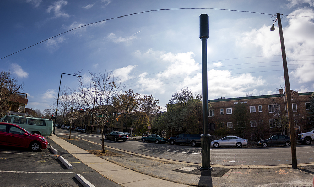 A cell pole near the intersection of 14th Avenue and Corona Street, Oct. 31, 2017. (Kevin J. Beaty/Denverite)  denver; colorado; denverite; kevinjbeaty; capitol hill; cell phone tower;