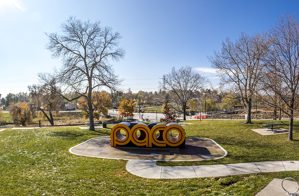 Paco Sanchez Park's new playground/sign mashup, Oct. 31, 2017. (Kevin J. Beaty/Denverite)