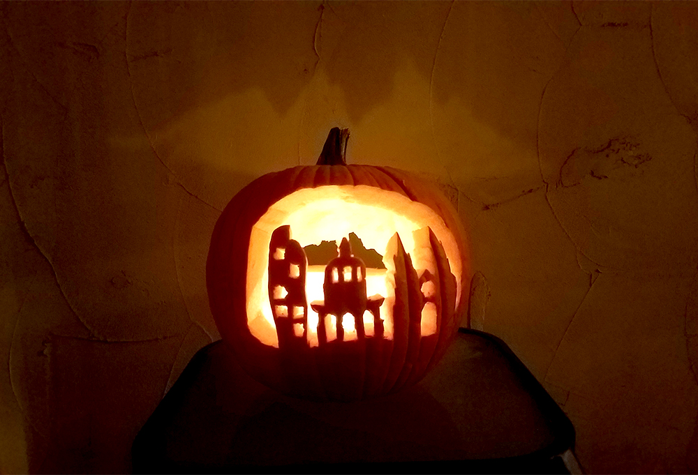 A Denverite reader sent us this image of a Denver skyline pumpkin they carved with one of Kevin J. Beaty's stencils.
