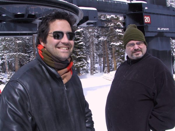 Aaron Evanson, left, and John Godsey are pictured here on a commercial shoot in 2002. (Courtesy of Aaron Evanson)