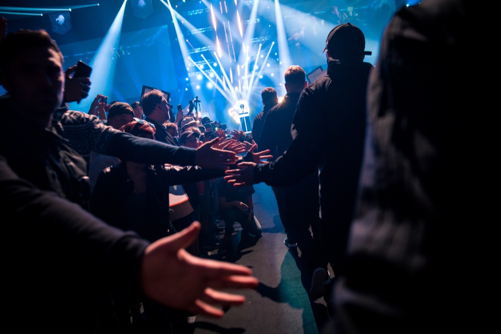 E-sports competitors enter an arena at a DreamHack event in 2017. (Courtesy DreamHack)