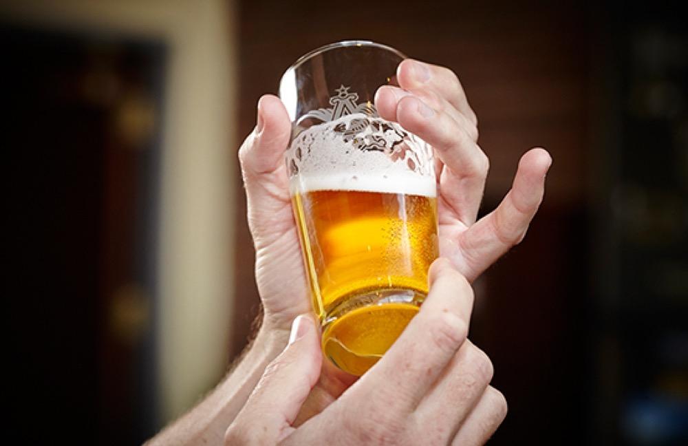 A quality control test of an Anheuser-Busch InBev beer. (Courtesy of Anheuser-Busch InBev)
