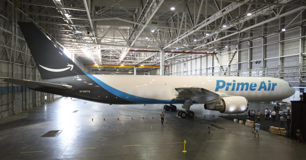 Amazon Prime Air Boeing 767, photographed on Aug. 8, 2016 from Wolfe Air Learjet 25B (Chad Slattery/Amazon)