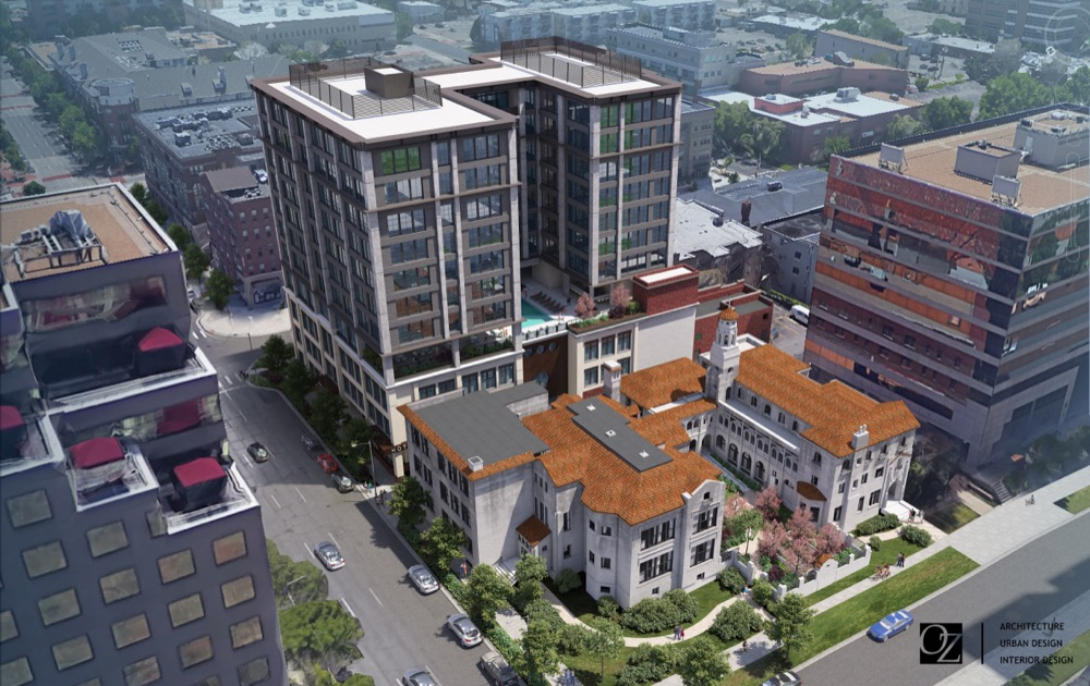 A rendering of a hotel planned near East 19th Avenue and Grant Street from a bird's-eye view. (Courtesy of OZ Architecture)