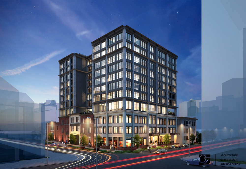 A rendering of a hotel planned near East 19th Avenue and Grant Street from a corner angle.  (Courtesy of OZ Architecture)