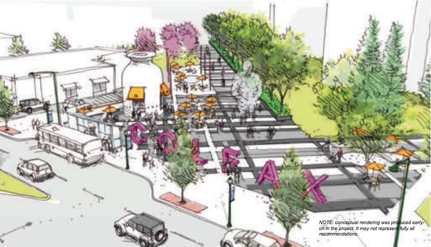 A concept plan to close a section of Park Avenue near Colfax Avenue. (Colfax BID)
