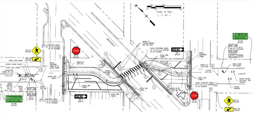 Plans for the 21st and Broadway bike and pedestrian crossing. (Denver Government)