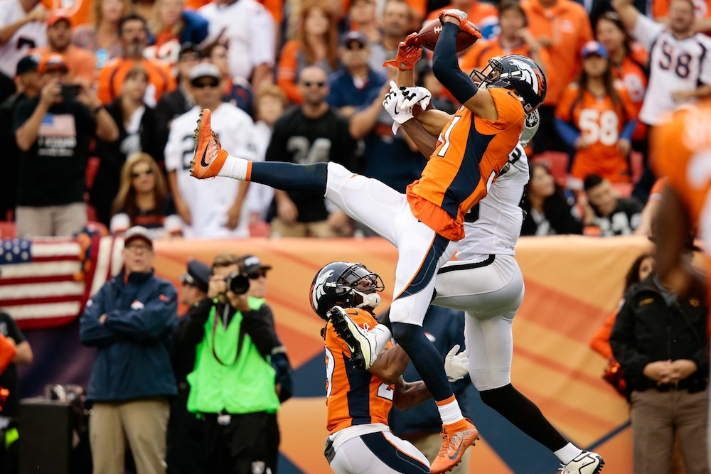 Justin Simmons picked off E.J. Manuel to seal Denver's Week 4 win. (Isaiah J. Downing/USA Today Sports)