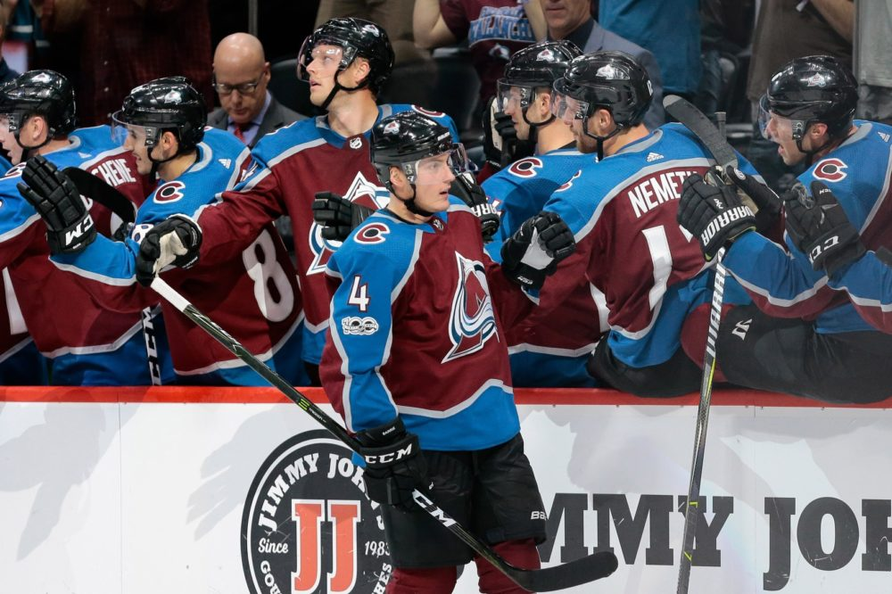 Colorado Avalanche defenseman Tyson Barrie (4) celebrates with teammates after his goal in the third period against the Anaheim Ducks at the Pepsi Center. Oct 13, 2017; Denver, CO. (Isaiah J. Downing/USA TODAY Sports)