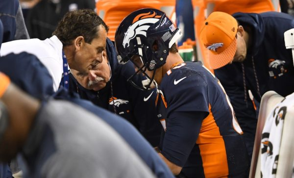 Trevor Siemian threw two interceptions in Denver's loss to the Giants on Sunday. (Ron Chenoy/USA Today Sports)