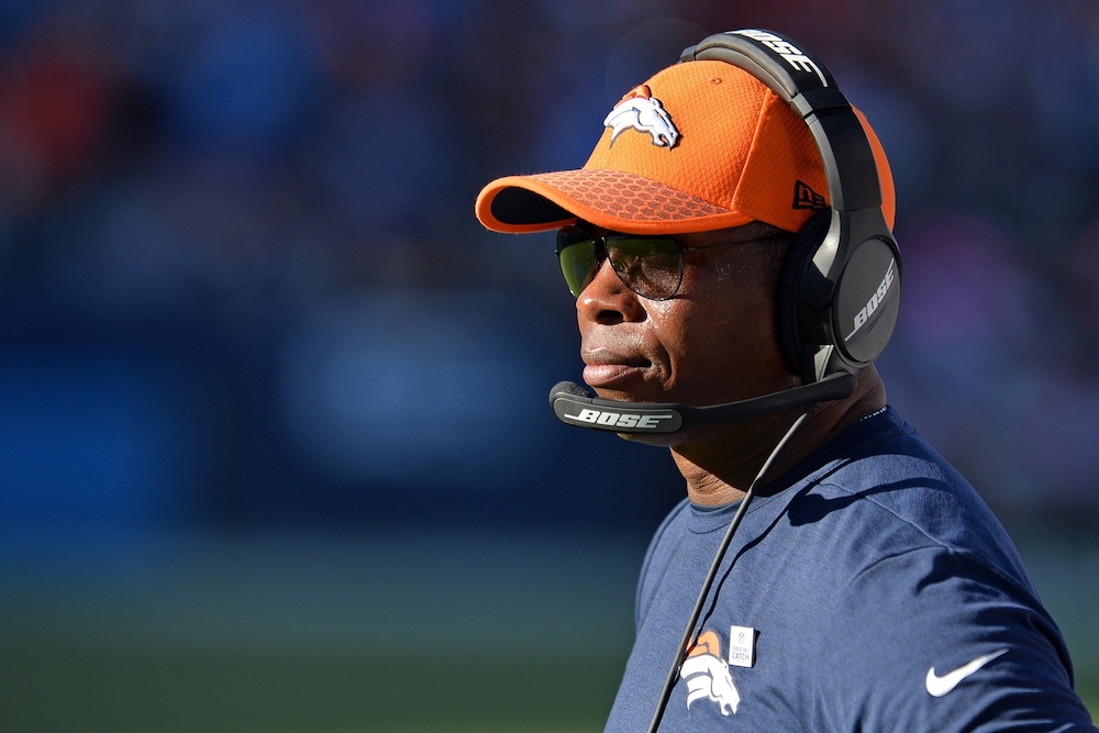 Broncos head coach Vance Joseph said Monday he's still mulling a QB change. (Jake Roth/USA Today Sports)