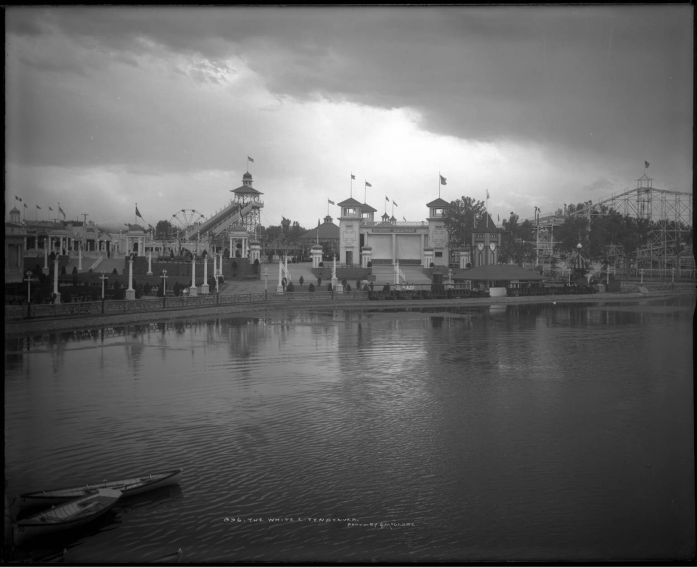 The White City, later renamed to Lakeside Amusement Park, circa 1909. (Louis Charles McClure/L.C. McClure collection/Denver Public Library)