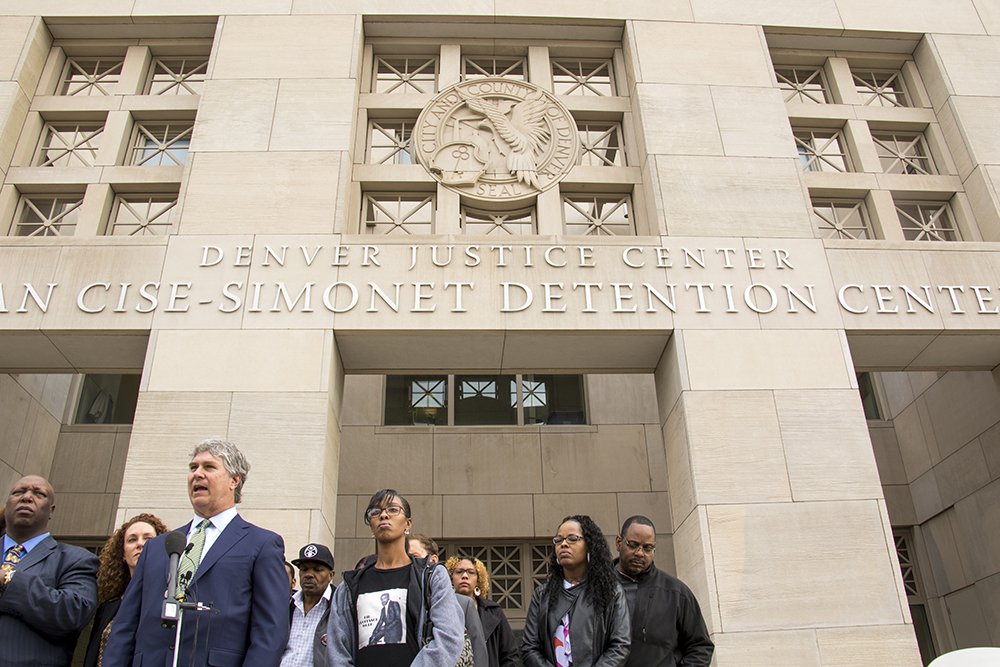 Michael Marshall's family and their lawyers announce they've made a $4.65 million settlement with the city following his death in jail, Nov. 1, 2017. (Kevin J. Beaty/Denverite)   michael marshall; denver justice center; denver; colorado; denverite; kevinjbeaty;
