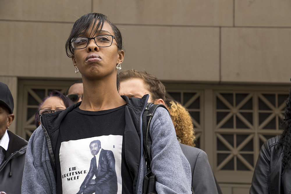 Michael Marshall's niece, Natalia, at a press conference as her family and lawyers announce they've made a $4.65 million settlement with the city following her uncle's death in jail, Nov. 1, 2017. (Kevin J. Beaty/Denverite)   michael marshall; denver justice center; denver; colorado; denverite; kevinjbeaty;