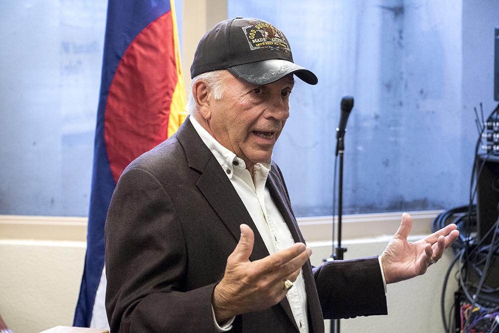 Tom Tancredo announces his run for Colorado governor, Nov. 1, 2017. (Kevin J. Beaty/Denverite)   tom tancredo; election; Independence Institute; denver; colorado; denverite; kevinjbeaty;